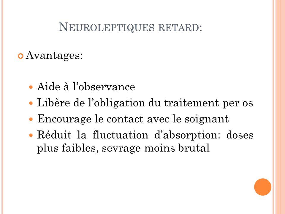 N EUROLEPTIQUES RETARD : Avantages: Aide à lobservance Libère de lobligation du traitement per os Encourage le contact avec le soignant Réduit la fluctuation dabsorption: doses plus faibles, sevrage moins brutal