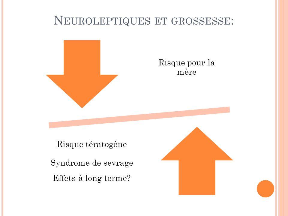 N EUROLEPTIQUES ET GROSSESSE : Risque pour la mère Risque tératogène Syndrome de sevrage Effets à long terme?