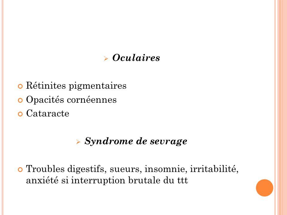 Oculaires Rétinites pigmentaires Opacités cornéennes Cataracte Syndrome de sevrage Troubles digestifs, sueurs, insomnie, irritabilité, anxiété si interruption brutale du ttt