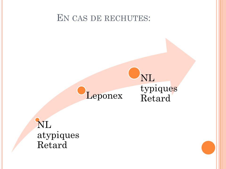 E N CAS DE RECHUTES : NL atypiques Retard Leponex NL typiques Retard