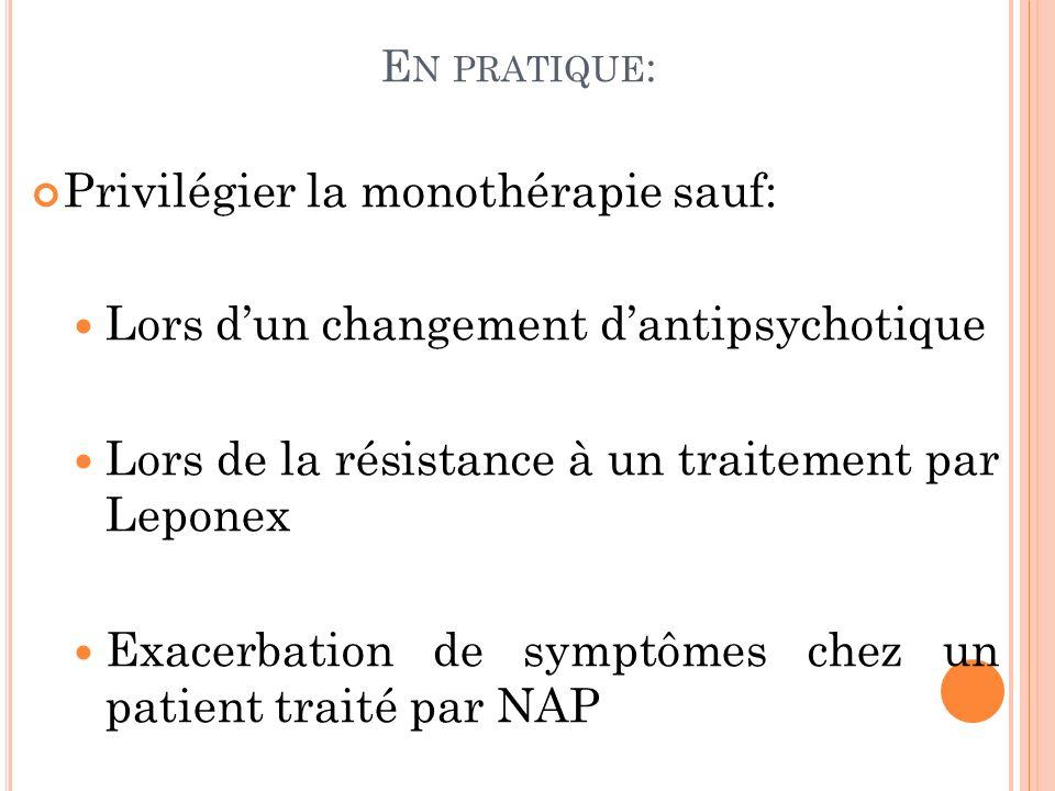 E N PRATIQUE : Privilégier la monothérapie sauf: Lors dun changement dantipsychotique Lors de la résistance à un traitement par Leponex Exacerbation de symptômes chez un patient traité par NAP