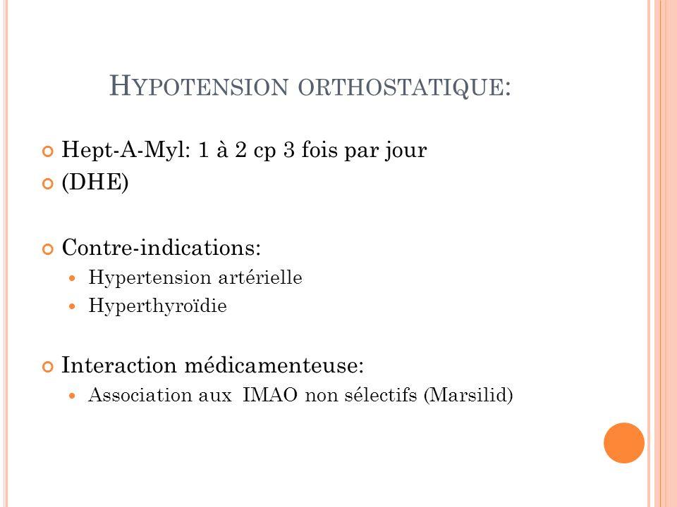 H YPOTENSION ORTHOSTATIQUE : Hept-A-Myl: 1 à 2 cp 3 fois par jour (DHE) Contre-indications: Hypertension artérielle Hyperthyroïdie Interaction médicamenteuse: Association aux IMAO non sélectifs (Marsilid)