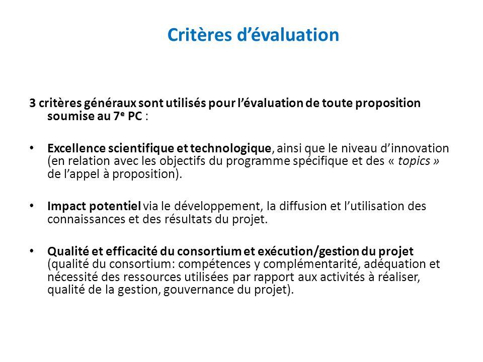 Critères dévaluation 3 critères généraux sont utilisés pour lévaluation de toute proposition soumise au 7 e PC : Excellence scientifique et technologique, ainsi que le niveau dinnovation (en relation avec les objectifs du programme spécifique et des « topics » de lappel à proposition).