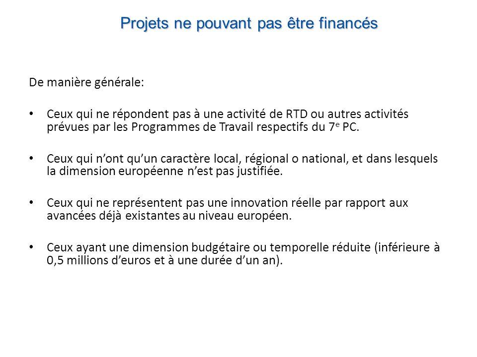 Projets ne pouvant pas être financés De manière générale: Ceux qui ne répondent pas à une activité de RTD ou autres activités prévues par les Programmes de Travail respectifs du 7 e PC.