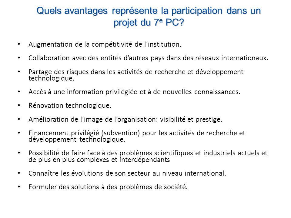 Quels avantages représente la participation dans un projet du 7 e PC.