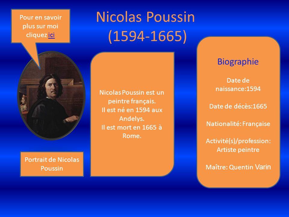 Nicolas Poussin (1594-1665) Portrait de Nicolas Poussin Nicolas Poussin est un peintre français.
