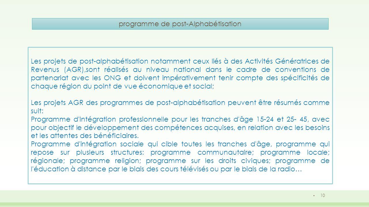 10 programme de post-Alphabétisation Les projets de post-alphabétisation notamment ceux liés à des Activités Génératrices de Revenus (AGR),sont réalis