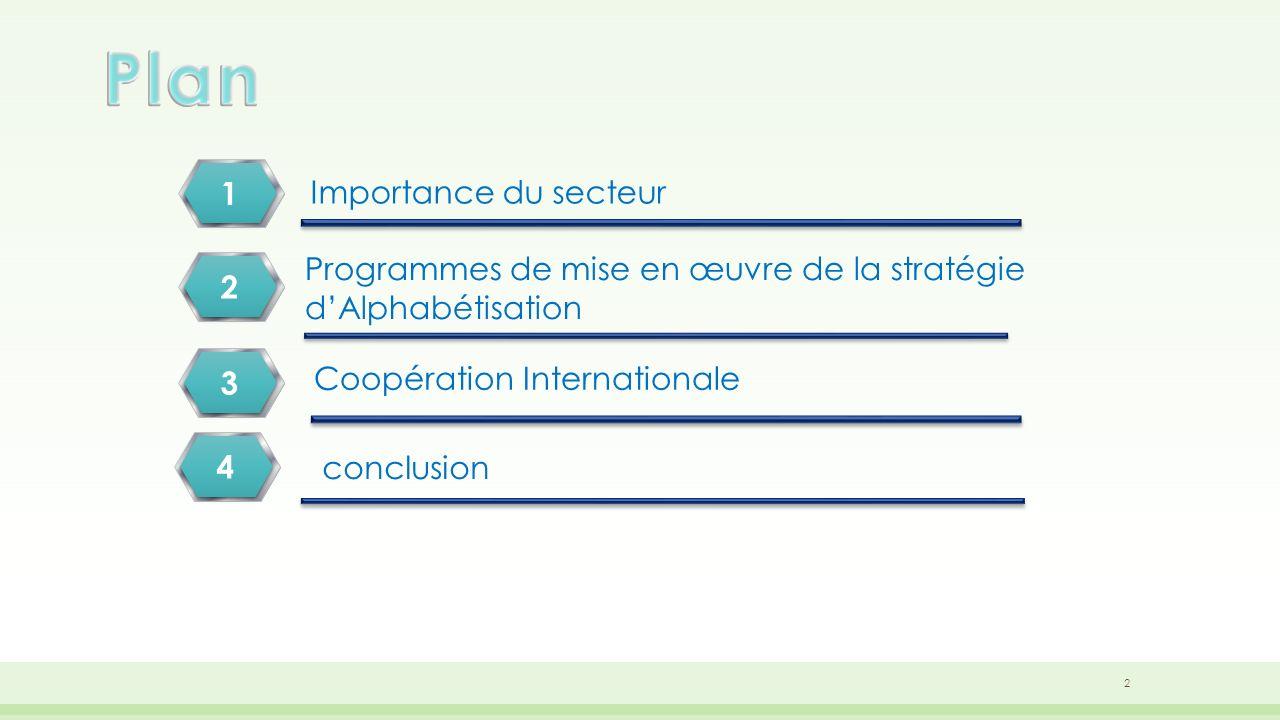 Importance du secteur Programmes de mise en œuvre de la stratégie dAlphabétisation Coopération Internationale 1 2 3 conclusion 4 2