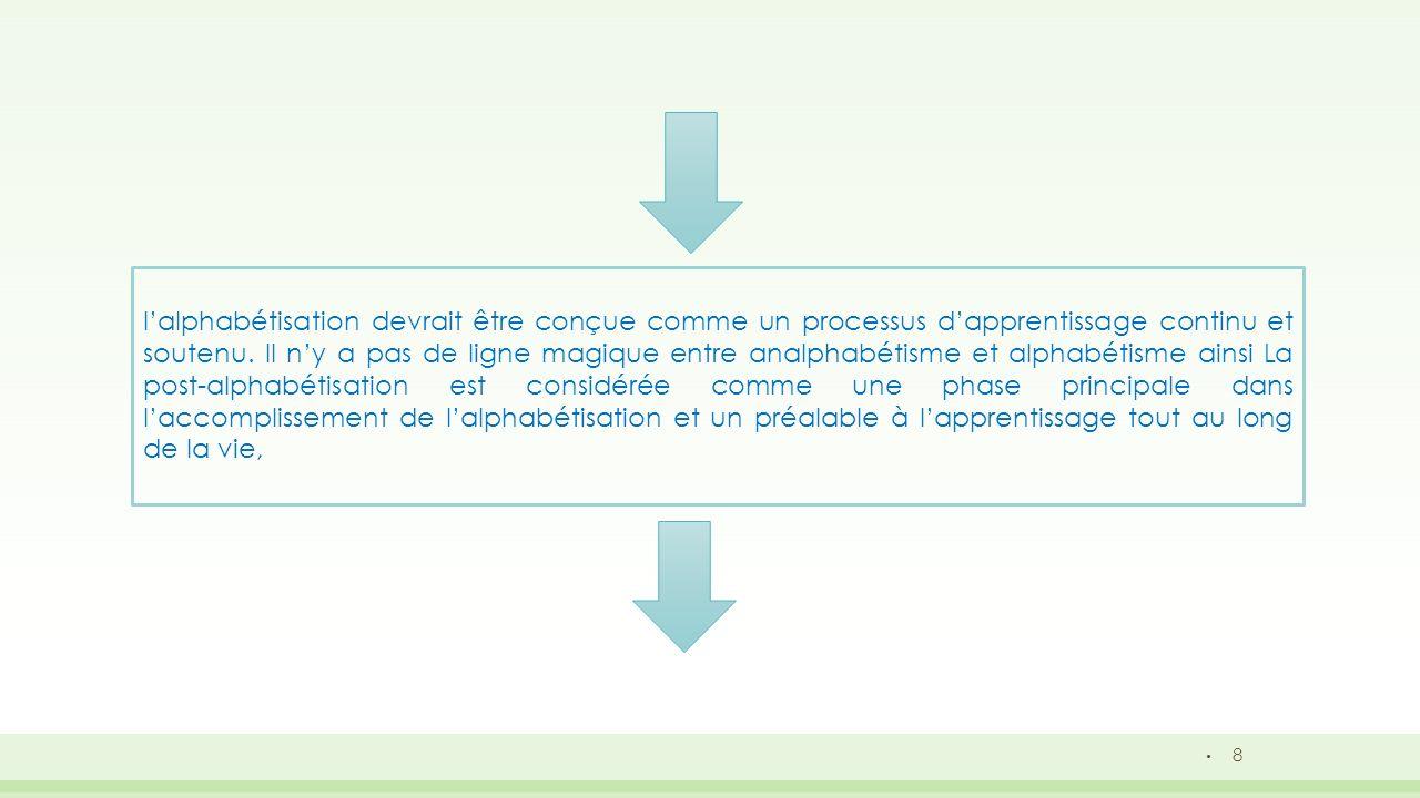 8 lalphabétisation devrait être conçue comme un processus dapprentissage continu et soutenu. Il ny a pas de ligne magique entre analphabétisme et alph