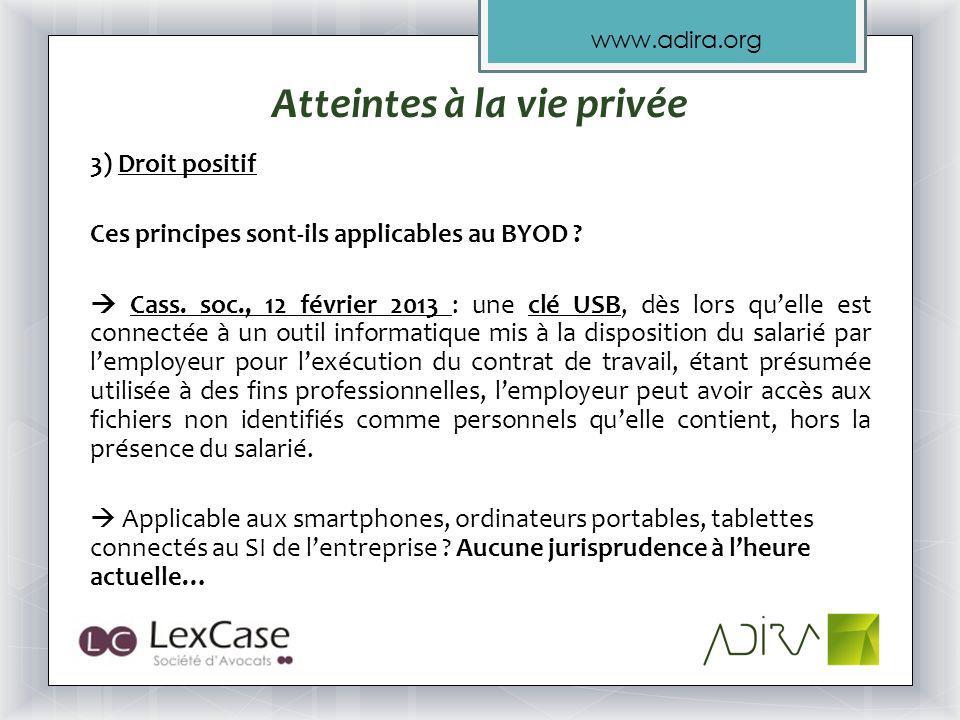 www.adira.org Atteintes à la vie privée 3) Droit positif Ces principes sont-ils applicables au BYOD .