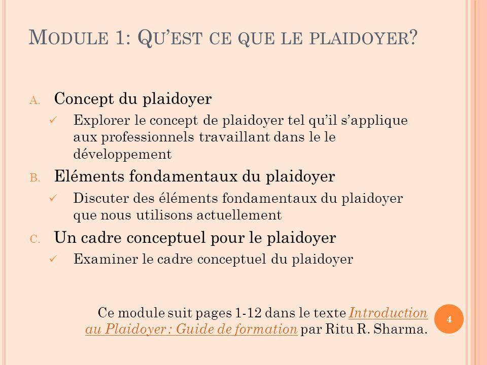 M ODULE 1: Q U EST CE QUE LE PLAIDOYER . A.