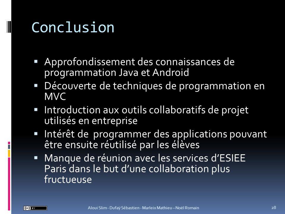 Conclusion Approfondissement des connaissances de programmation Java et Android Découverte de techniques de programmation en MVC Introduction aux outi