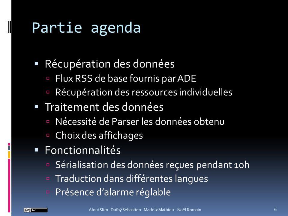 Partie agenda Récupération des données Flux RSS de base fournis par ADE Récupération des ressources individuelles Traitement des données Nécessité de