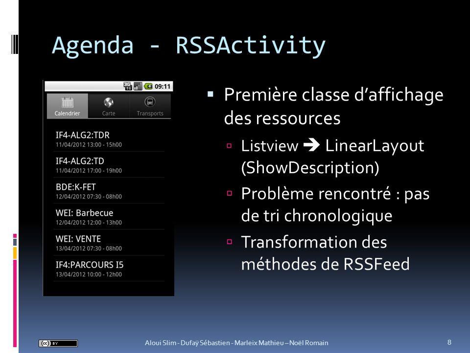 Agenda - RSSActivity Nécessité de panel de préférence URL de ressource Persistance ou non des données 9 Aloui Slim - Dufaÿ Sébastien - Marleix Mathieu – Noël Romain