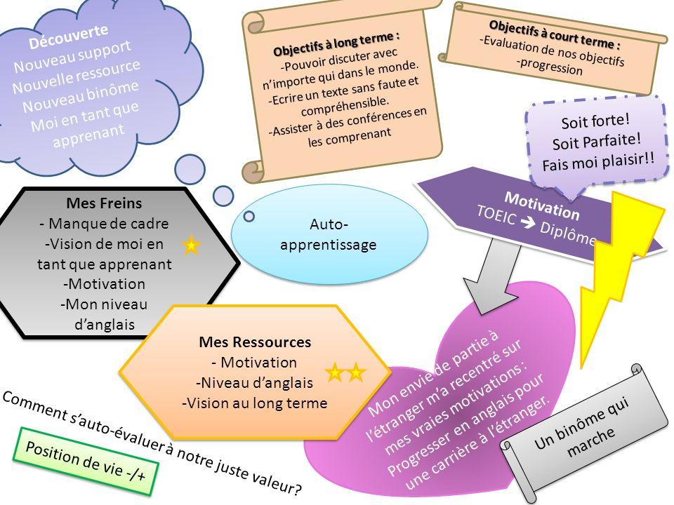 Auto- apprentissage Mes Freins - Manque de cadre -Vision de moi en tant que apprenant -Motivation -Mon niveau danglais Mes Freins - Manque de cadre -V