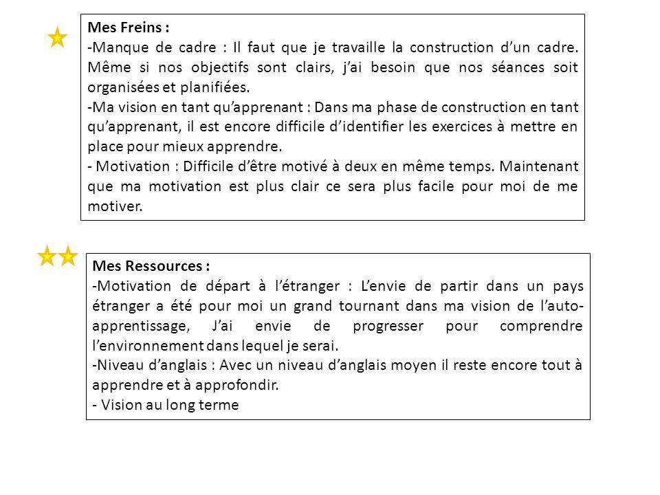 Mes Freins : -Manque de cadre : Il faut que je travaille la construction dun cadre. Même si nos objectifs sont clairs, jai besoin que nos séances soit