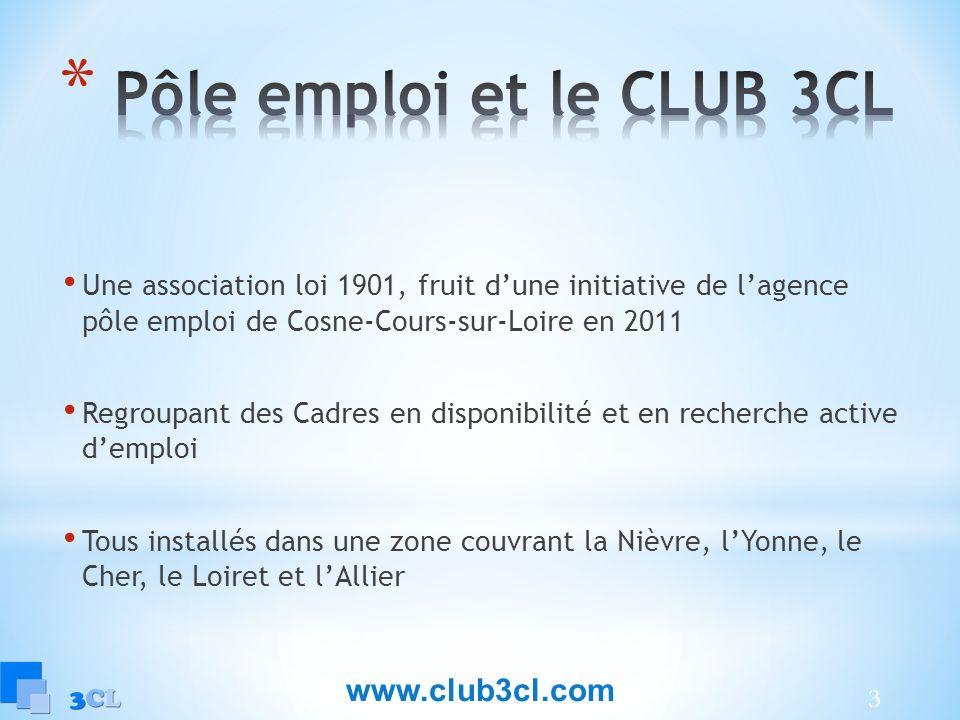 3 Une association loi 1901, fruit dune initiative de lagence pôle emploi de Cosne-Cours-sur-Loire en 2011 Regroupant des Cadres en disponibilité et en recherche active demploi Tous installés dans une zone couvrant la Nièvre, lYonne, le Cher, le Loiret et lAllier www.club3cl.com