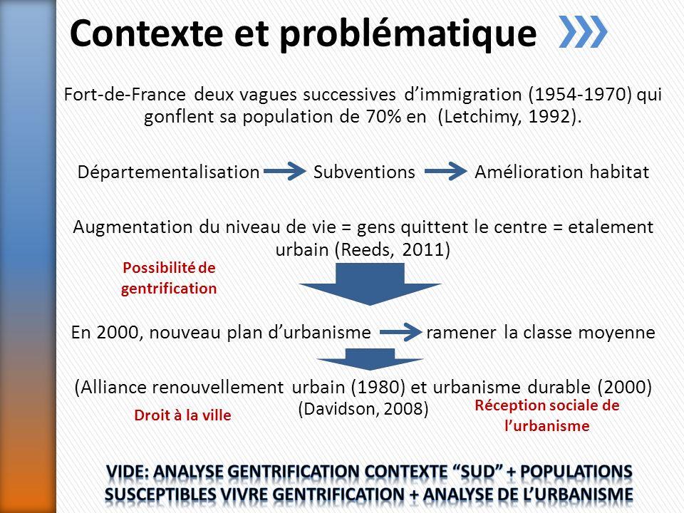 Contexte et problématique Fort-de-France deux vagues successives dimmigration (1954-1970) qui gonflent sa population de 70% en (Letchimy, 1992).