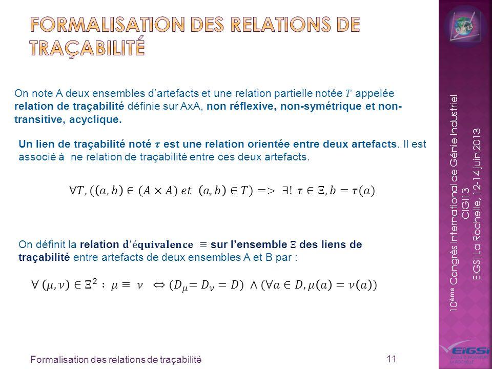 10 ème Congrès International de Génie Industriel CIGI13 EIGSI La Rochelle, 12-14 juin 2013 Formalisation des relations de traçabilité 11