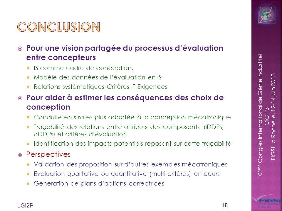 10 ème Congrès International de Génie Industriel CIGI13 EIGSI La Rochelle, 12-14 juin 2013 Pour une vision partagée du processus dévaluation entre con