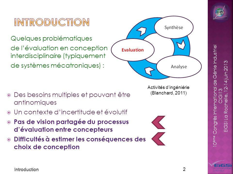 10 ème Congrès International de Génie Industriel CIGI13 EIGSI La Rochelle, 12-14 juin 2013 Des besoins multiples et pouvant être antinomiques Un conte