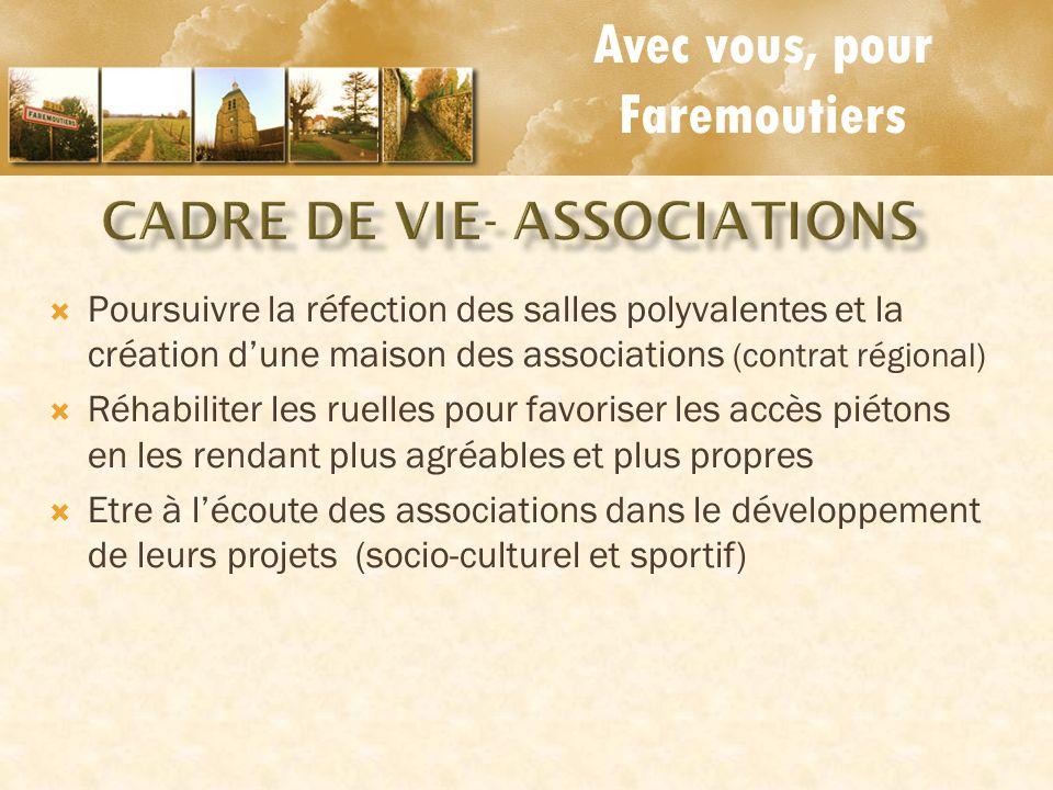 Avec vous, pour Faremoutiers Poursuivre la réfection des salles polyvalentes et la création dune maison des associations (contrat régional) Réhabilite