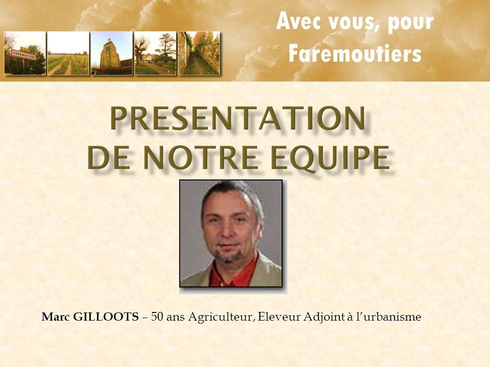 Avec vous, pour Faremoutiers Marc GILLOOTS – 50 ans Agriculteur, Eleveur Adjoint à lurbanisme