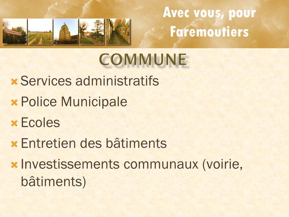 Avec vous, pour Faremoutiers Services administratifs Police Municipale Ecoles Entretien des bâtiments Investissements communaux (voirie, bâtiments)