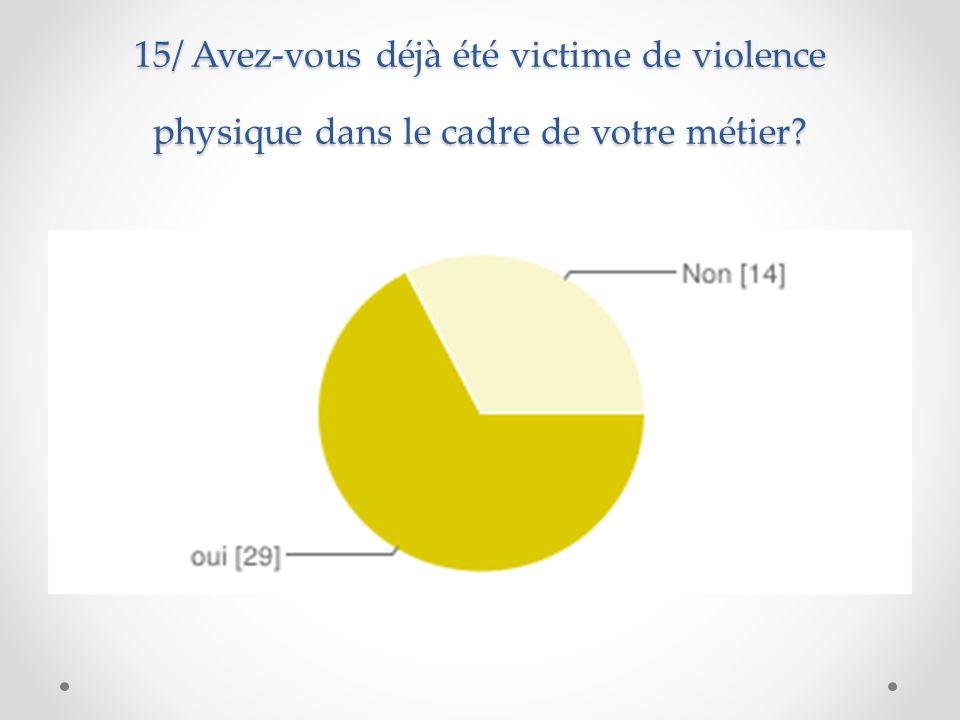 16/ Avez-vous dèja bénéficié d une formation sur la gestion de la violence dans le cadre de la formation continue?