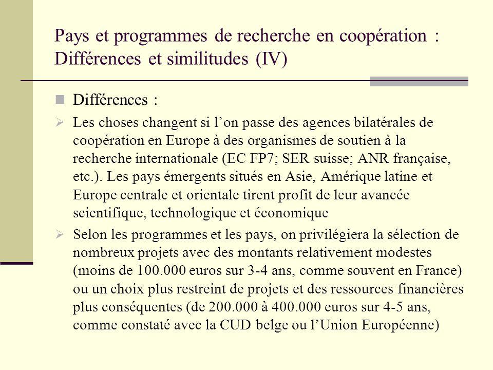 Pays et programmes de recherche en coopération : Différences et similitudes (IV) Différences : Les choses changent si lon passe des agences bilatérale