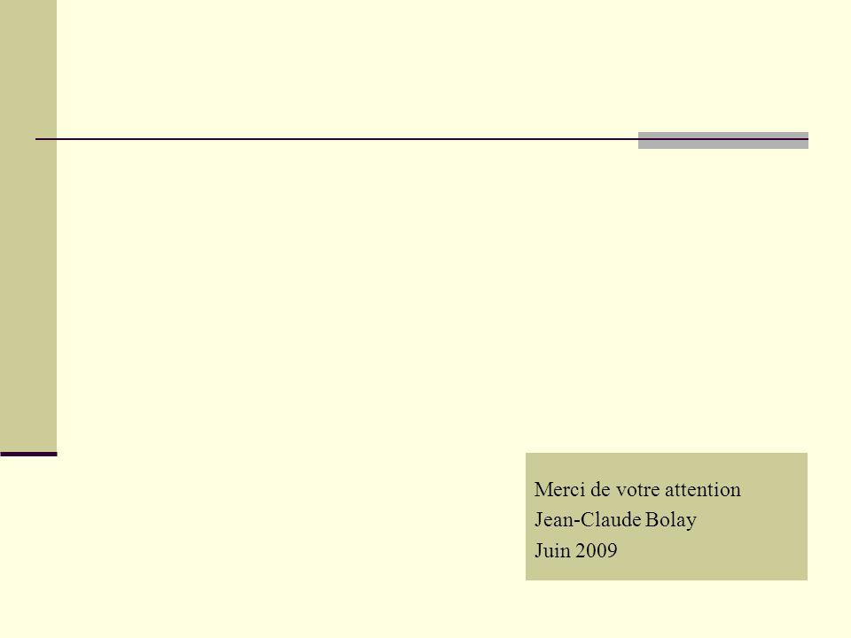 Merci de votre attention Jean-Claude Bolay Juin 2009