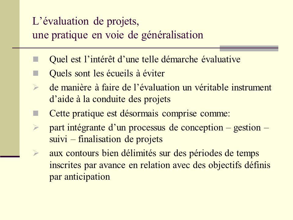 Lévaluation de projets, une pratique en voie de généralisation Quel est lintérêt dune telle démarche évaluative Quels sont les écueils à éviter de man