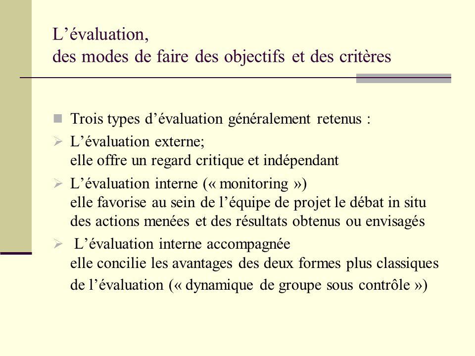 Lévaluation, des modes de faire des objectifs et des critères Trois types dévaluation généralement retenus : Lévaluation externe; elle offre un regard