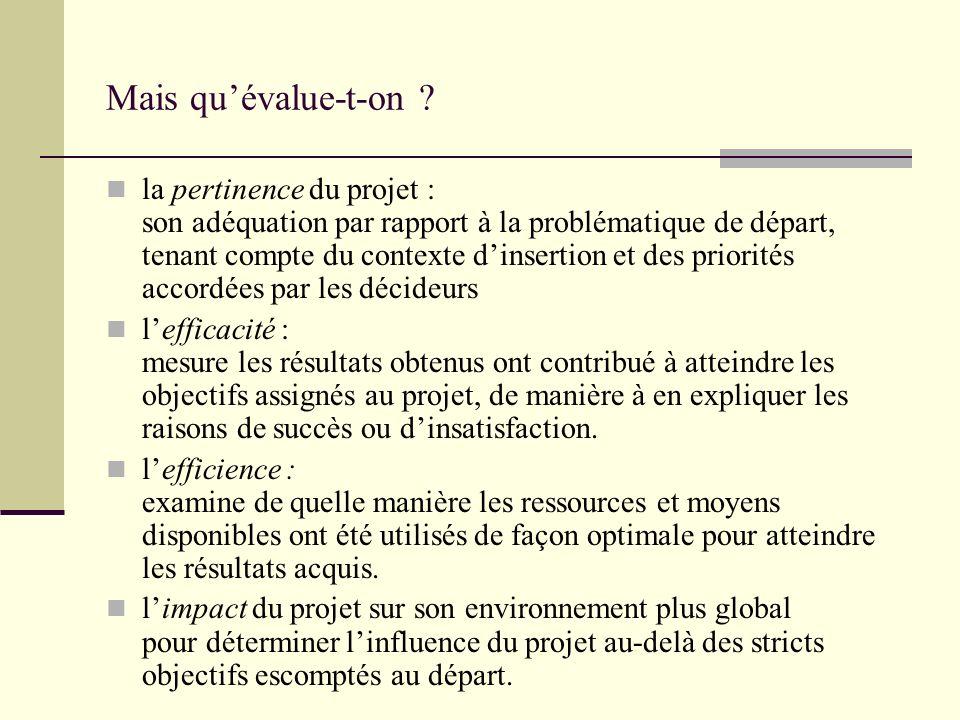 Cadre logique En synthèse on obtiendrait un cadre logique nous guidant dans le travail dévaluation: Objectifs du projet Résultats attendus Questions dévalua- tion Critères de réponse IndicateursSources Pertinence Efficacité Efficience Impact