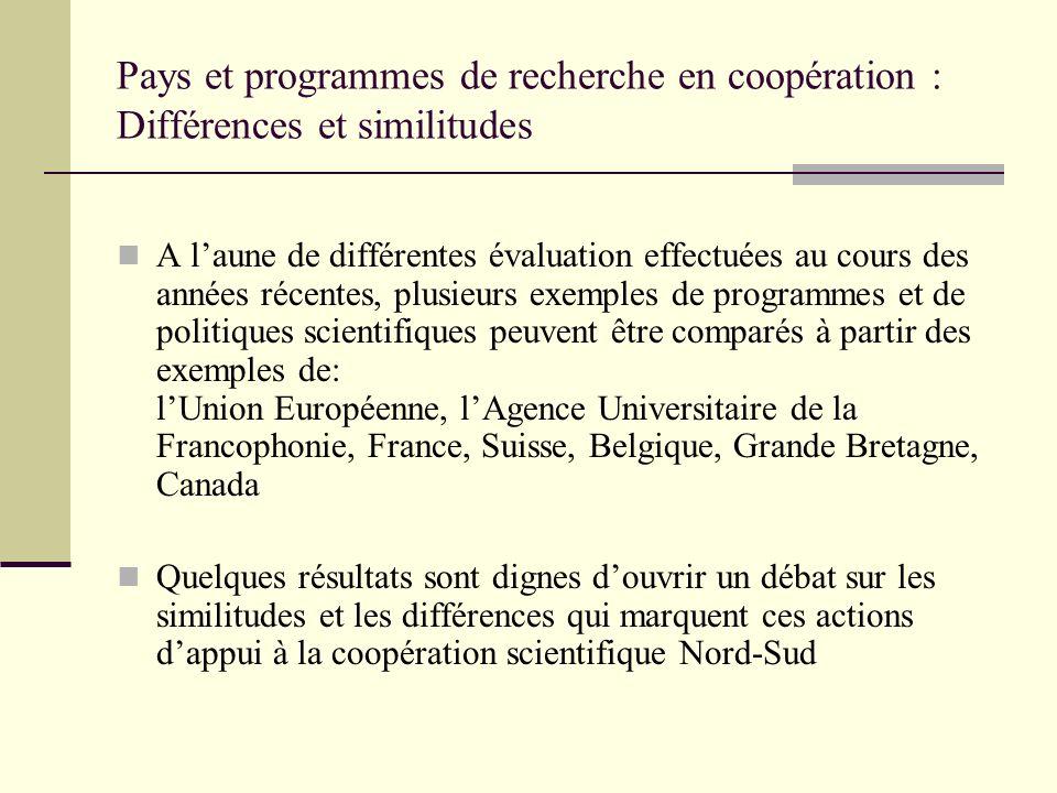 Pays et programmes de recherche en coopération : Différences et similitudes A laune de différentes évaluation effectuées au cours des années récentes,