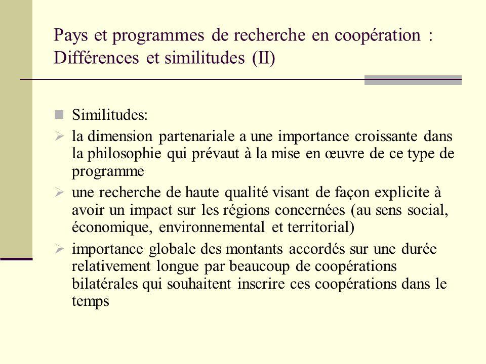Pays et programmes de recherche en coopération : Différences et similitudes (II) Similitudes: la dimension partenariale a une importance croissante da