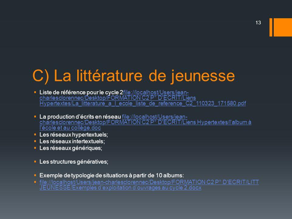 C) La littérature de jeunesse Liste de référence pour le cycle 2file://localhost/Users/jean- charlesclorennec/Desktop/FORMATION C2 P° D'ECRIT/Liens Hy