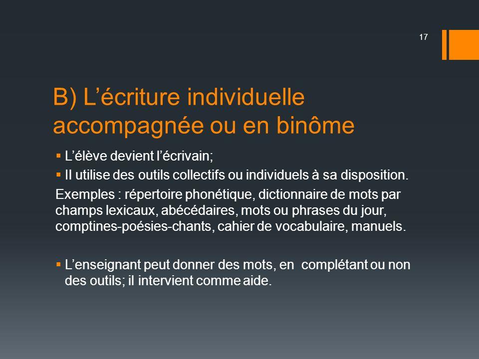 B) Lécriture individuelle accompagnée ou en binôme Lélève devient lécrivain; Il utilise des outils collectifs ou individuels à sa disposition. Exemple
