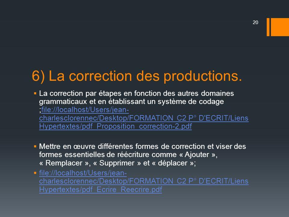 6) La correction des productions. La correction par étapes en fonction des autres domaines grammaticaux et en établissant un système de codage ;file:/