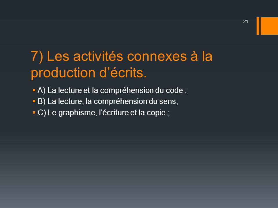 7) Les activités connexes à la production décrits. A) La lecture et la compréhension du code ; B) La lecture, la compréhension du sens; C) Le graphism