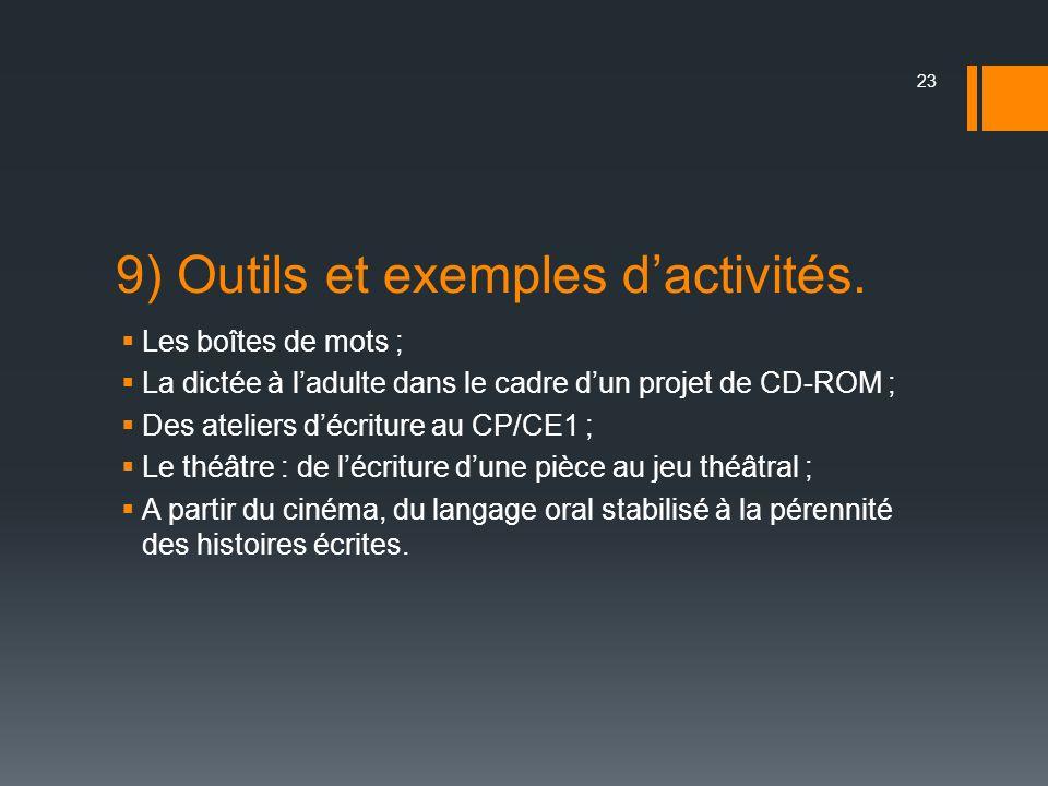 9) Outils et exemples dactivités. Les boîtes de mots ; La dictée à ladulte dans le cadre dun projet de CD-ROM ; Des ateliers décriture au CP/CE1 ; Le
