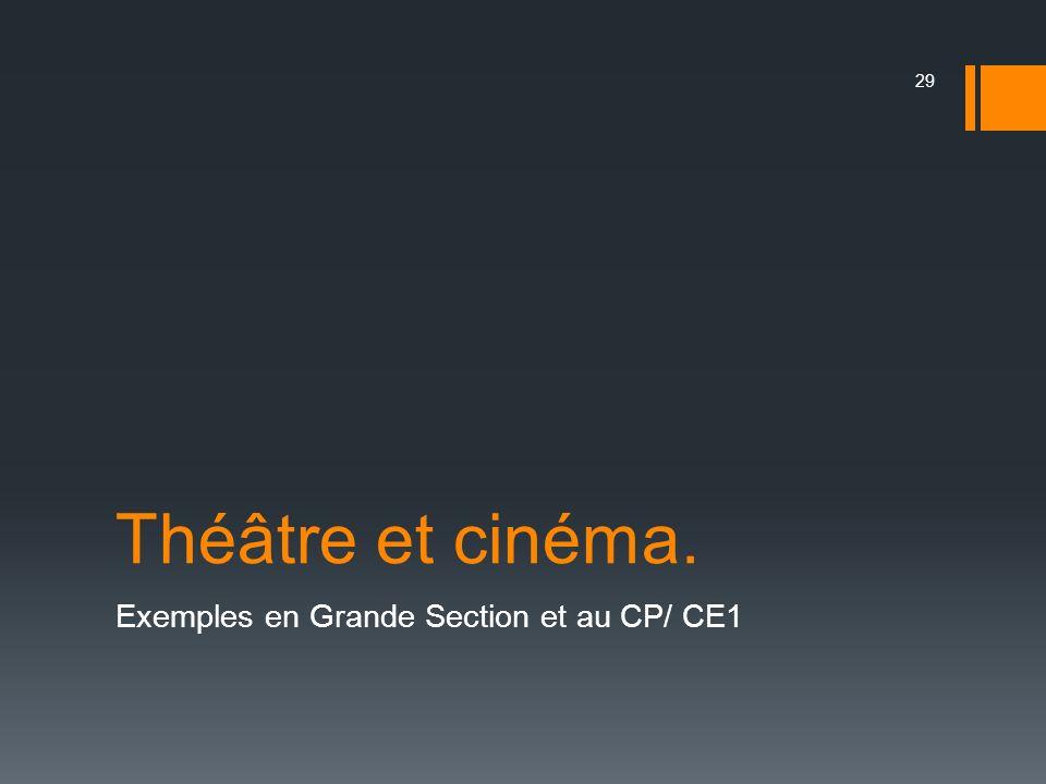 Théâtre et cinéma. Exemples en Grande Section et au CP/ CE1 29