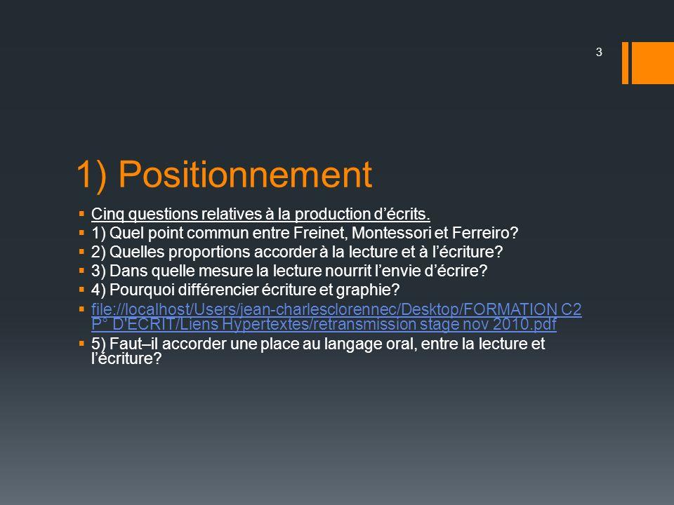 1) Positionnement Cinq questions relatives à la production décrits. 1) Quel point commun entre Freinet, Montessori et Ferreiro? 2) Quelles proportions