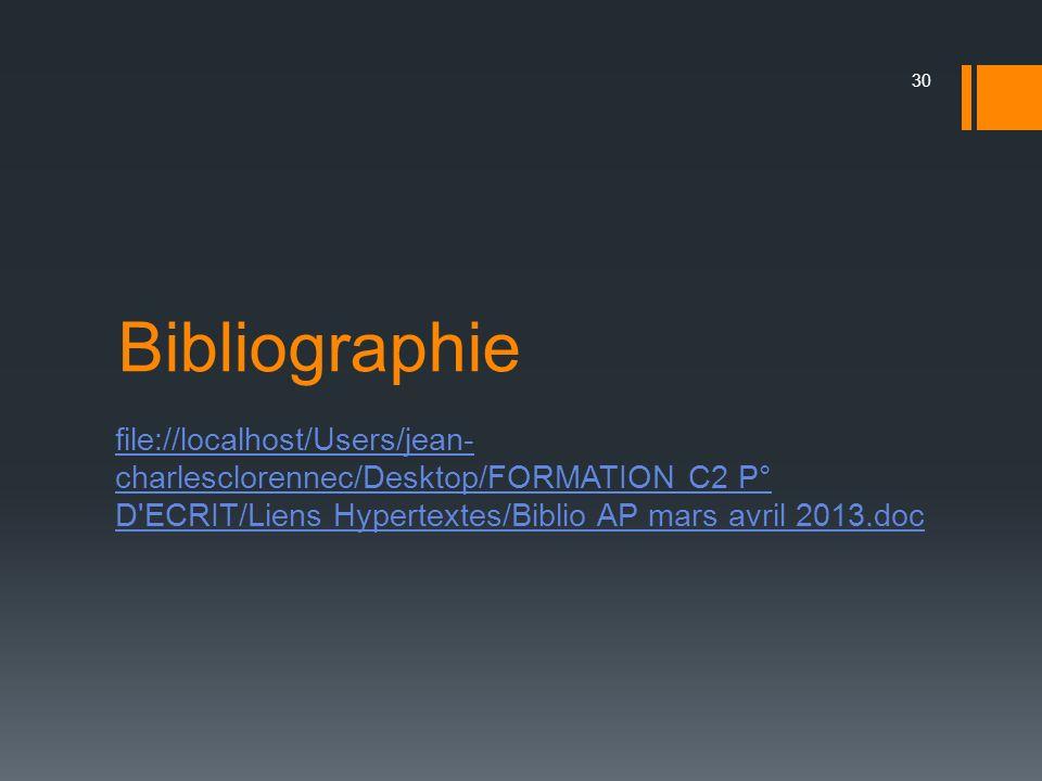 Bibliographie file://localhost/Users/jean- charlesclorennec/Desktop/FORMATION C2 P° D'ECRIT/Liens Hypertextes/Biblio AP mars avril 2013.doc 30