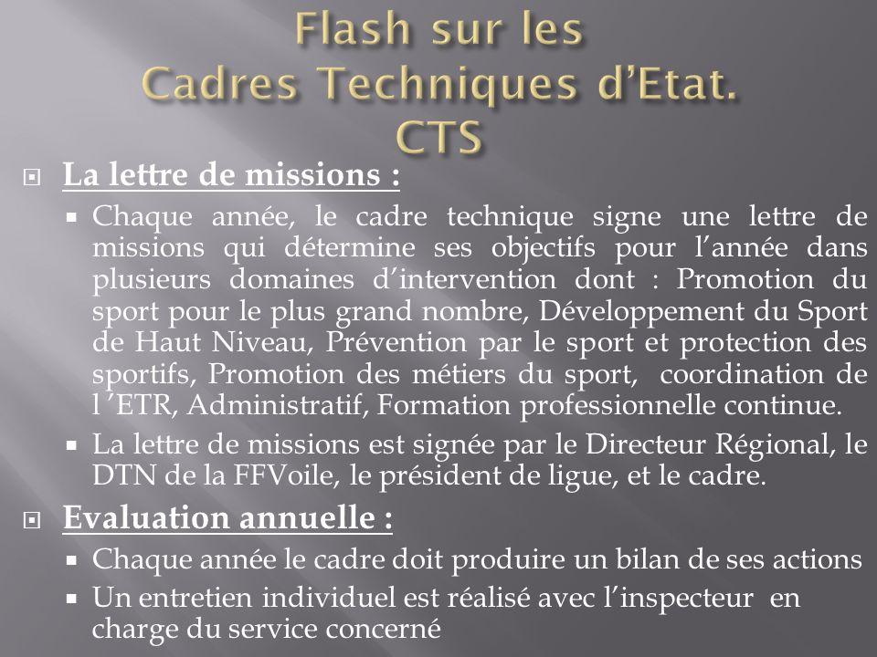 La lettre de missions : Chaque année, le cadre technique signe une lettre de missions qui détermine ses objectifs pour lannée dans plusieurs domaines