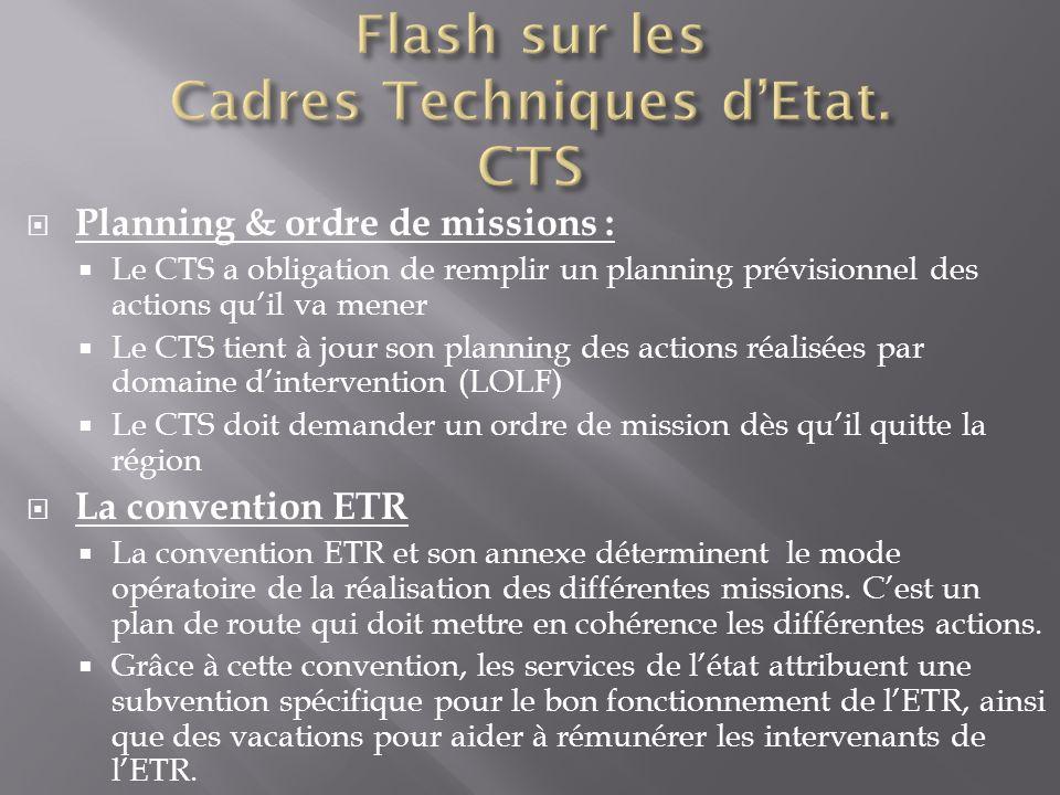 Planning & ordre de missions : Le CTS a obligation de remplir un planning prévisionnel des actions quil va mener Le CTS tient à jour son planning des
