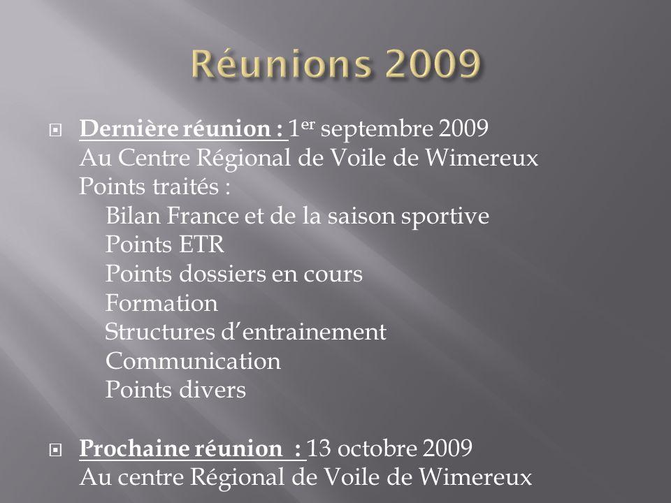 Dernière réunion : 1 er septembre 2009 Au Centre Régional de Voile de Wimereux Points traités : Bilan France et de la saison sportive Points ETR Point
