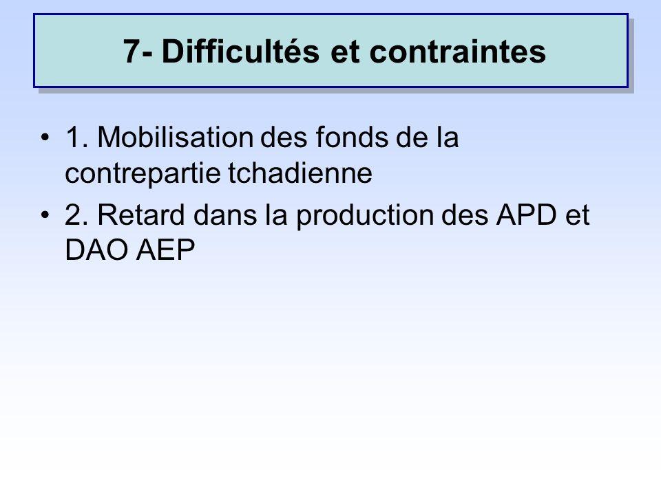 7.Difficultés et contraintes 1. Mobilisation des fonds de la contrepartie tchadienne 2.