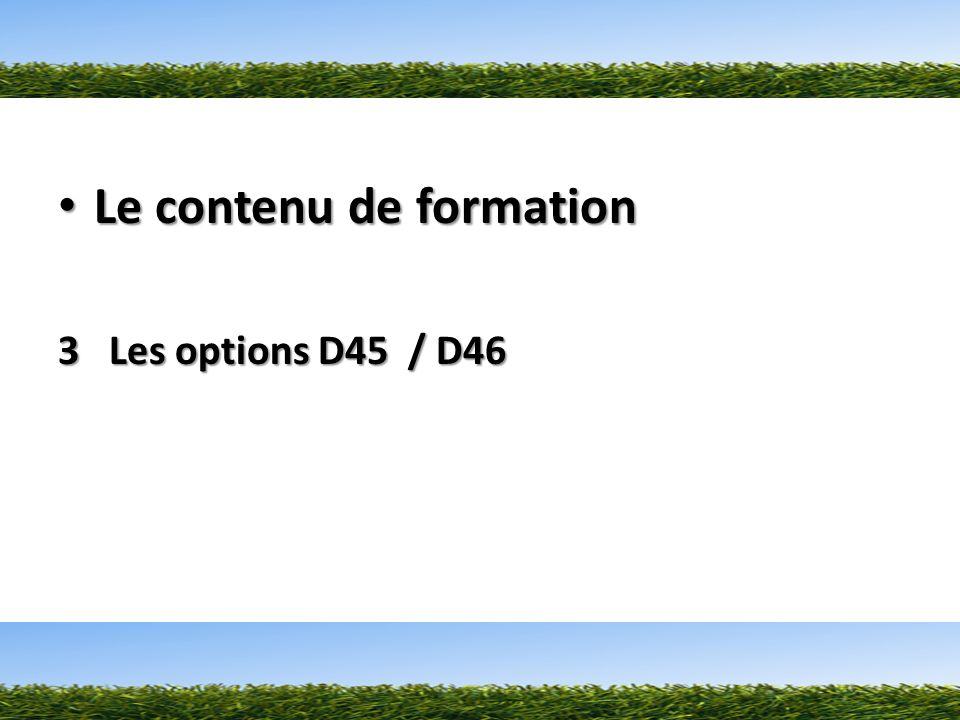 Le contenu de formation Le contenu de formation 3 Les options D45 / D46