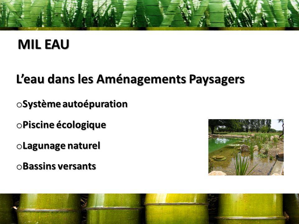 MIL EAU Leau dans les Aménagements Paysagers o Système autoépuration o Piscine écologique o Lagunage naturel o Bassins versants